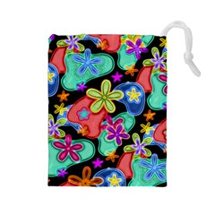 Colorful Retro Flowers Fractalius Pattern 1 Drawstring Pouches (large)  by EDDArt