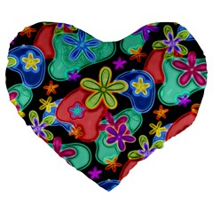 Colorful Retro Flowers Fractalius Pattern 1 Large 19  Premium Flano Heart Shape Cushions by EDDArt