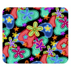 Colorful Retro Flowers Fractalius Pattern 1 Double Sided Flano Blanket (small)  by EDDArt