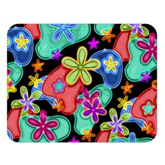Colorful Retro Flowers Fractalius Pattern 1 Double Sided Flano Blanket (large)  by EDDArt