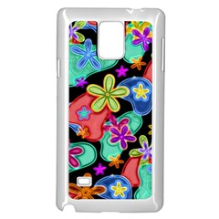 Colorful Retro Flowers Fractalius Pattern 1 Samsung Galaxy Note 4 Case (white) by EDDArt