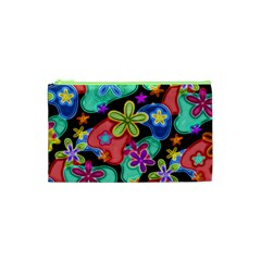 Colorful Retro Flowers Fractalius Pattern 1 Cosmetic Bag (xs)