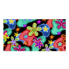 Colorful Retro Flowers Fractalius Pattern 1 Satin Shawl by EDDArt