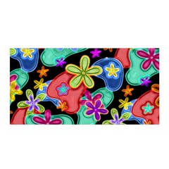 Colorful Retro Flowers Fractalius Pattern 1 Satin Wrap by EDDArt