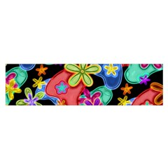 Colorful Retro Flowers Fractalius Pattern 1 Satin Scarf (oblong) by EDDArt