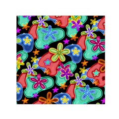 Colorful Retro Flowers Fractalius Pattern 1 Small Satin Scarf (square) by EDDArt