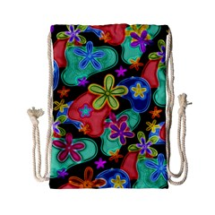 Colorful Retro Flowers Fractalius Pattern 1 Drawstring Bag (small) by EDDArt