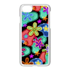 Colorful Retro Flowers Fractalius Pattern 1 Apple Iphone 7 Seamless Case (white) by EDDArt