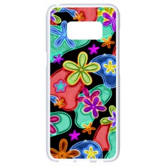 Colorful Retro Flowers Fractalius Pattern 1 Samsung Galaxy S8 White Seamless Case by EDDArt