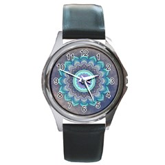 Folk Art Lotus Mandala Blue Turquoise Round Metal Watch by EDDArt