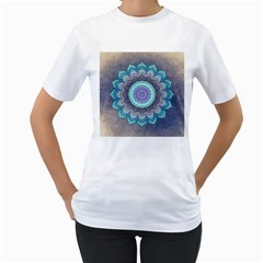 Folk Art Lotus Mandala Blue Turquoise Women s T Shirt (white) (two Sided) by EDDArt
