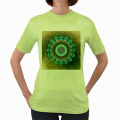 Folk Art Lotus Mandala Blue Turquoise Women s Green T Shirt by EDDArt