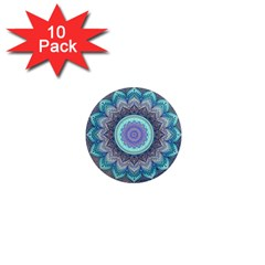 Folk Art Lotus Mandala Blue Turquoise 1  Mini Magnet (10 Pack)  by EDDArt