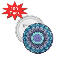 Folk Art Lotus Mandala Blue Turquoise 1 75  Buttons (100 Pack)  by EDDArt