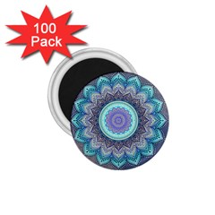 Folk Art Lotus Mandala Blue Turquoise 1 75  Magnets (100 Pack)  by EDDArt