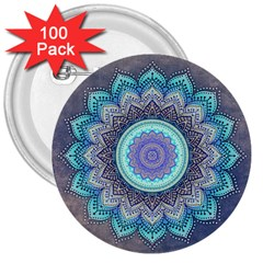 Folk Art Lotus Mandala Blue Turquoise 3  Buttons (100 Pack)  by EDDArt