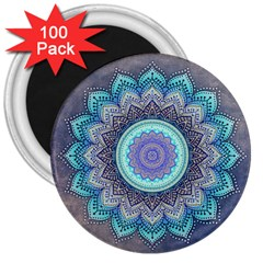 Folk Art Lotus Mandala Blue Turquoise 3  Magnets (100 Pack) by EDDArt