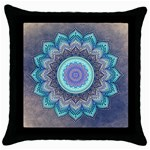 Folk Art Lotus Mandala Blue Turquoise Throw Pillow Case (Black) Front