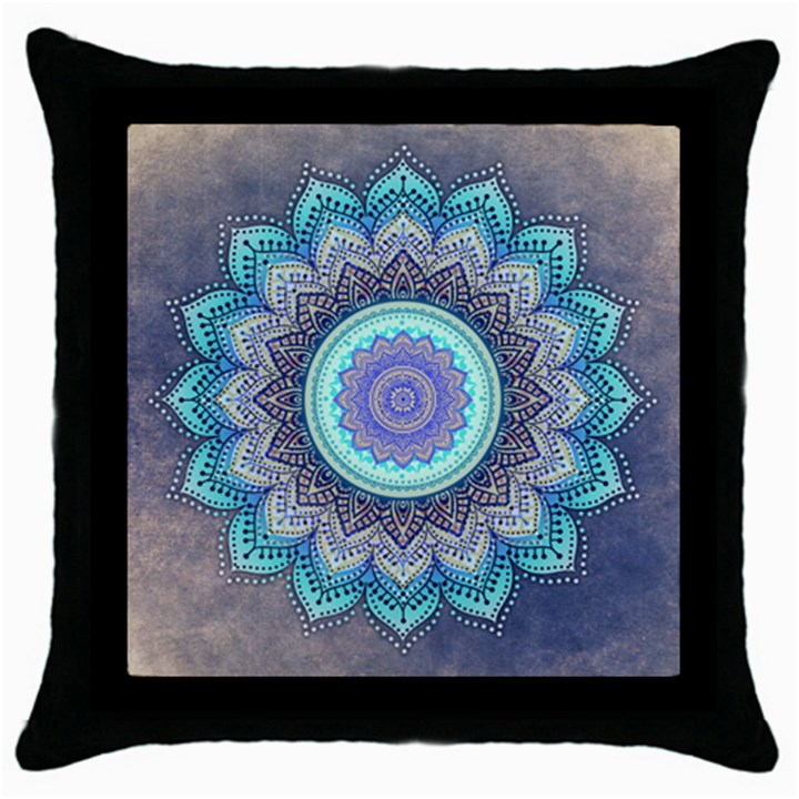 Folk Art Lotus Mandala Blue Turquoise Throw Pillow Case (Black)