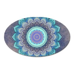 Folk Art Lotus Mandala Blue Turquoise Oval Magnet by EDDArt