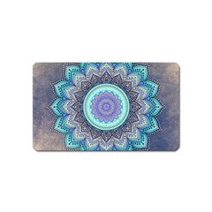 Folk Art Lotus Mandala Blue Turquoise Magnet (name Card) by EDDArt