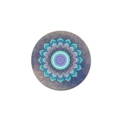 Folk Art Lotus Mandala Blue Turquoise Golf Ball Marker (10 Pack) by EDDArt