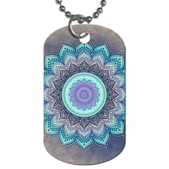 Folk Art Lotus Mandala Blue Turquoise Dog Tag (two Sides) by EDDArt