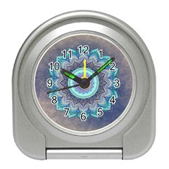 Folk Art Lotus Mandala Blue Turquoise Travel Alarm Clock by EDDArt