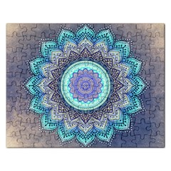 Folk Art Lotus Mandala Blue Turquoise Rectangular Jigsaw Puzzl by EDDArt
