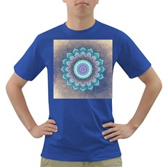 Folk Art Lotus Mandala Blue Turquoise Dark T Shirt by EDDArt