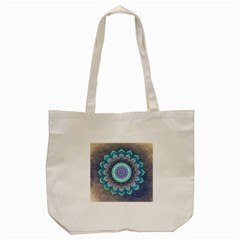 Folk Art Lotus Mandala Blue Turquoise Tote Bag (cream) by EDDArt