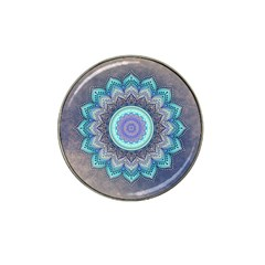 Folk Art Lotus Mandala Blue Turquoise Hat Clip Ball Marker (4 Pack) by EDDArt