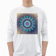 Folk Art Lotus Mandala Blue Turquoise White Long Sleeve T-shirts by EDDArt