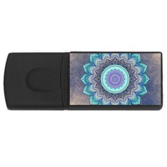 Folk Art Lotus Mandala Blue Turquoise Rectangular Usb Flash Drive by EDDArt