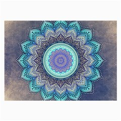 Folk Art Lotus Mandala Blue Turquoise Large Glasses Cloth (2 Side) by EDDArt