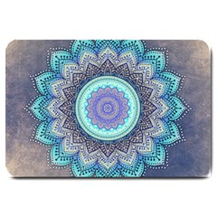 Folk Art Lotus Mandala Blue Turquoise Large Doormat  by EDDArt