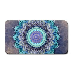 Folk Art Lotus Mandala Blue Turquoise Medium Bar Mats by EDDArt
