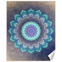 Folk Art Lotus Mandala Blue Turquoise Canvas 11  X 14   by EDDArt
