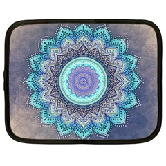 Folk Art Lotus Mandala Blue Turquoise Netbook Case (large) by EDDArt