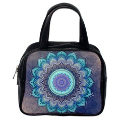 Folk Art Lotus Mandala Blue Turquoise Classic Handbags (one Side) by EDDArt