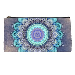 Folk Art Lotus Mandala Blue Turquoise Pencil Cases by EDDArt
