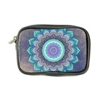 Folk Art Lotus Mandala Blue Turquoise Coin Purse Front