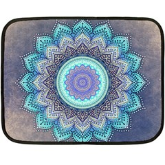 Folk Art Lotus Mandala Blue Turquoise Double Sided Fleece Blanket (mini)  by EDDArt