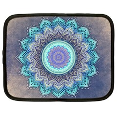 Folk Art Lotus Mandala Blue Turquoise Netbook Case (xl)  by EDDArt