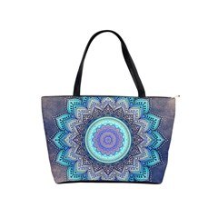 Folk Art Lotus Mandala Blue Turquoise Shoulder Handbags by EDDArt