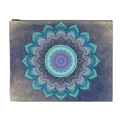 Folk Art Lotus Mandala Blue Turquoise Cosmetic Bag (xl) by EDDArt