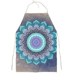 Folk Art Lotus Mandala Blue Turquoise Full Print Aprons by EDDArt