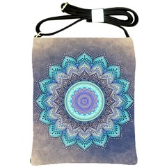 Folk Art Lotus Mandala Blue Turquoise Shoulder Sling Bags by EDDArt