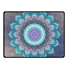 Folk Art Lotus Mandala Blue Turquoise Fleece Blanket (small) by EDDArt