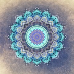 Folk Art Lotus Mandala Blue Turquoise Magic Photo Cube by EDDArt